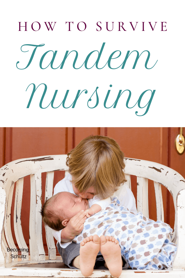 Tandem nursing is such a blessing but it is challenging and full of up and downs. But you can enjoy it and be happy you choose not to wean your breastfeeding toddler #breastfeeding #parenting