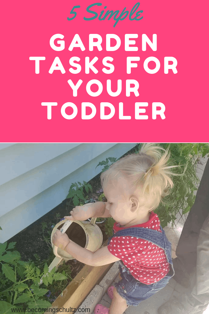 5 simple garden tasks for your toddler. Picture of toddler watering a herb bed.