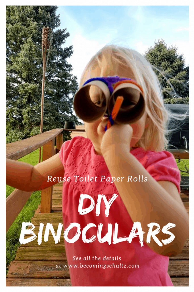 These DIY binoculars are the perfect way to reuse toilet paper rolls while doing an easy toddler craft that is also a toddler toy! You can make them your own by decorating them and getting even more of a quite toddler activity out of them. Then get outside and go on a hunt or take a family hike and see what you can find! DIY crafts, toddler fun, toddler craft, reduce, reuse, recycle