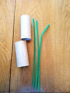 supplies for reusing toilet paper rolls to make binoculars for toddler to play with