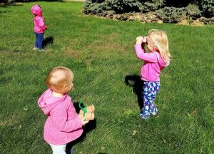 going on a flower hunt with our DIY binoculars