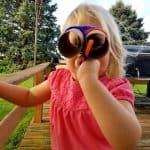 DIY binoculars for toddlers made with pipe cleaners and toilet paper rolls.
