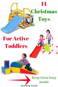 What are you going to get your active toddler for Christmas? Our plan is some great indoor toys that will help burn off some energy during the winter months. These toddler Christmas toys are perfect for some indoor play while it is cold and snowy outside and they won't break the bank.
