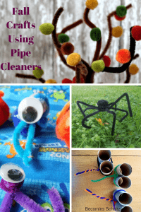 Fall Crafts using pipe cleaners are a perfect way to explore fall and all that the weather change has to offer. Halloween Crafts, Fall tree craft. This post contains 18 crafts that use pipe cleaners. Pipe cleaners are the perfect craft supply for every age. toddler crafts, preschool crafts, kid crafts, seasonal crafts,