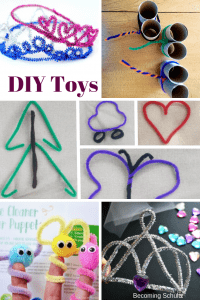 DIY toddler toys made using pipe cleaners! Not only do you get the fun of doing a craft but you also get a toy! Toddler crafts that then turn in to toys are such a fun way for them to learn we make things and don't have to buy them! princess crown craft, DIY finger puppets