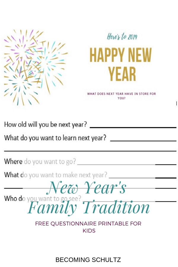 Fun New Year's family tradition can be as easy as printing out this free New Year's questionnaire printable! So easy and fun to do every year and see how the answers change.