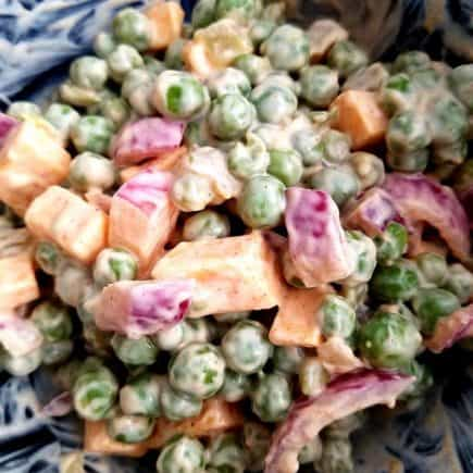 pea salad recipe with cheese. side dish for BBQ's, pot luck side dish, pot luck vegetable dish,
