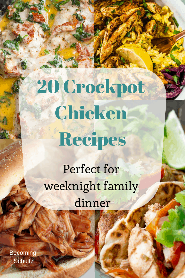 20 crock pot chicken recipes perfect for weeknight family dinner. Slow cookers can be such a sanity saver for busy moms. #recipes
