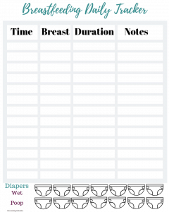 Breastfeeding and diaper changes daily tracker