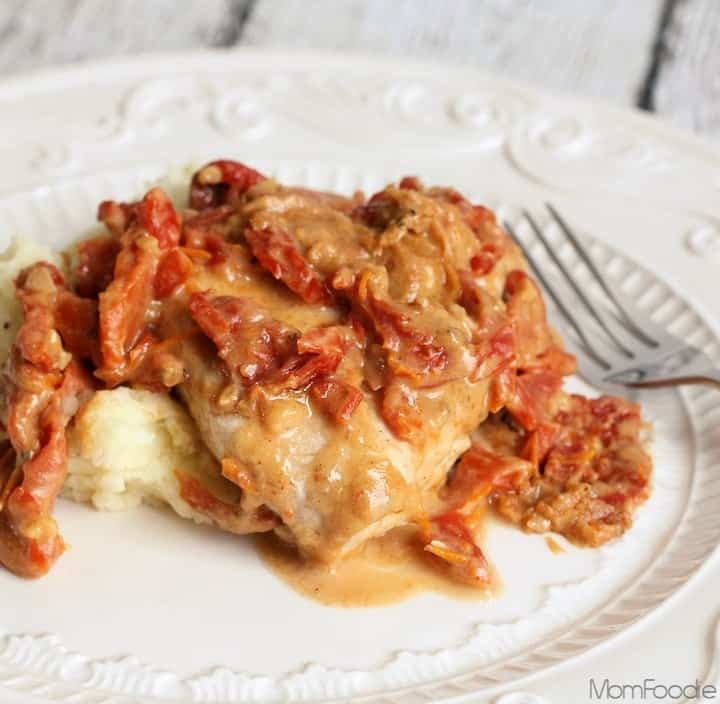 Healthy chicken in rich creamy sun dried tomato chicken skillet meal