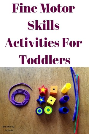 Fine motor skills activities for toddlers. picture of beads, string, and pipe cleaners